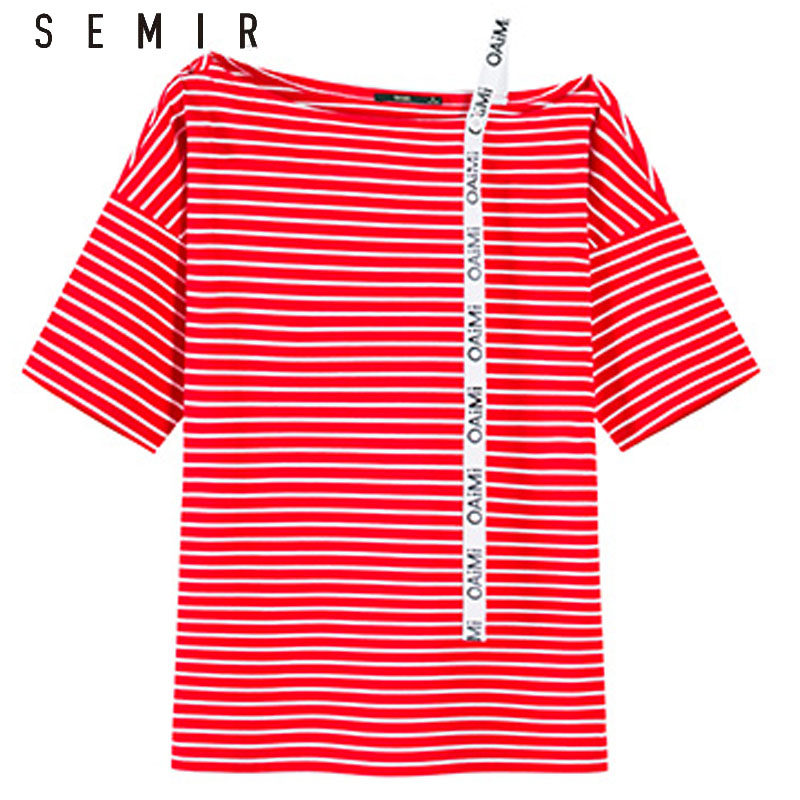 SEMIR Women T shirt Off The SHoulder Tops for Women Cotton Tee Shirt Femme Camisetas Mujer Harajuku Stripe T shirts Summer
