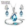 GALAXY Мода Белый Позолоченный Ювелирные Наборы Для Женщин Синий Кристалл Ожерелье Серьги Браслет Свадебные Ювелирные Наборы YS035