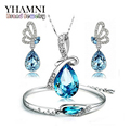 GALAXY Fashion White Gold Plated Jewelry Sets For Women Blue Crystal Necklace Earrings Bracelet Bridal Jewelry Sets YS035
