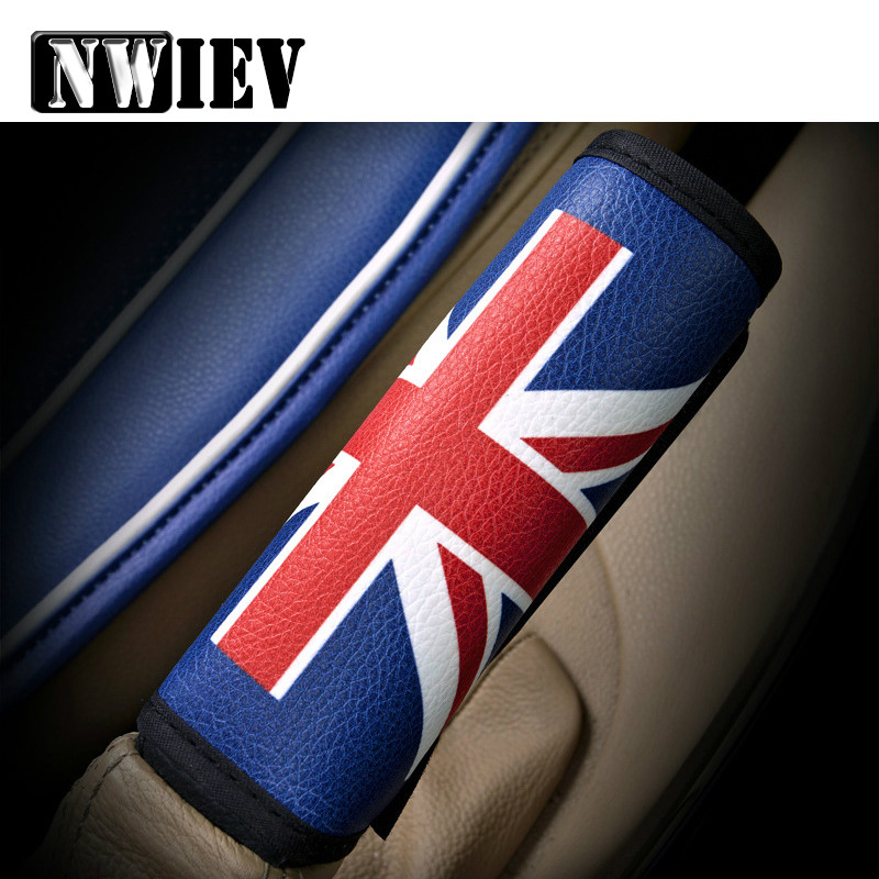 NWIEV Car Handbrake Cover Cases British Rice Pennant Leather Sets For Jeep Ford Focus 2 3 Peugeot 307 VW Polo Golf 4 5 7 Touran