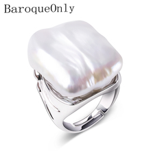 BaroqueOnly 100% טבעי מים מתוקים הבארוק פרל טבעות 925 טבעת כסף תכשיטים לנשים מתנות 22 25mm