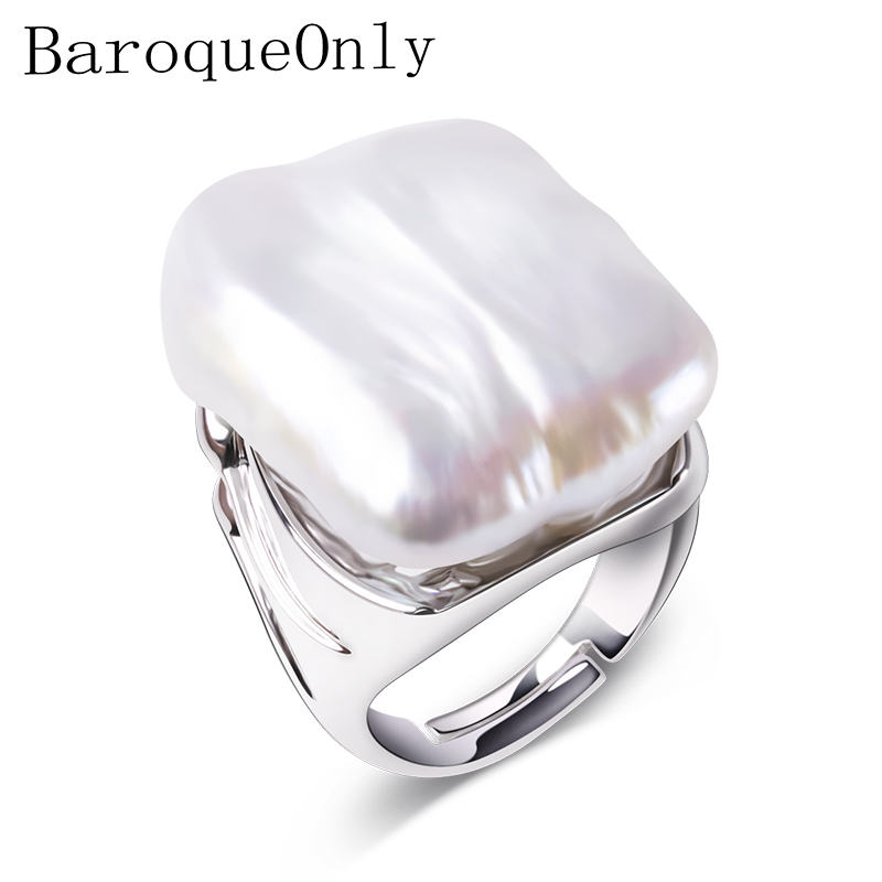 BaroqueOnly Adjustable Rings For Women 925 Sterling Silver Jewelry Natural White Baroque Pearl Jewelry women Gifts 22 25mm