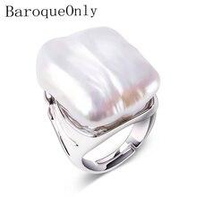 BaroqueOnly Anillo de Plata de Ley 925 con Perla Barroca de agua dulce, joyería Natural, para mujeres