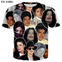 YX GIRL Newest King of Rock and Roll Michael Jackson Fashion Men/Women casual T-shirt 3d print t shirt Boy singer star tee(China)