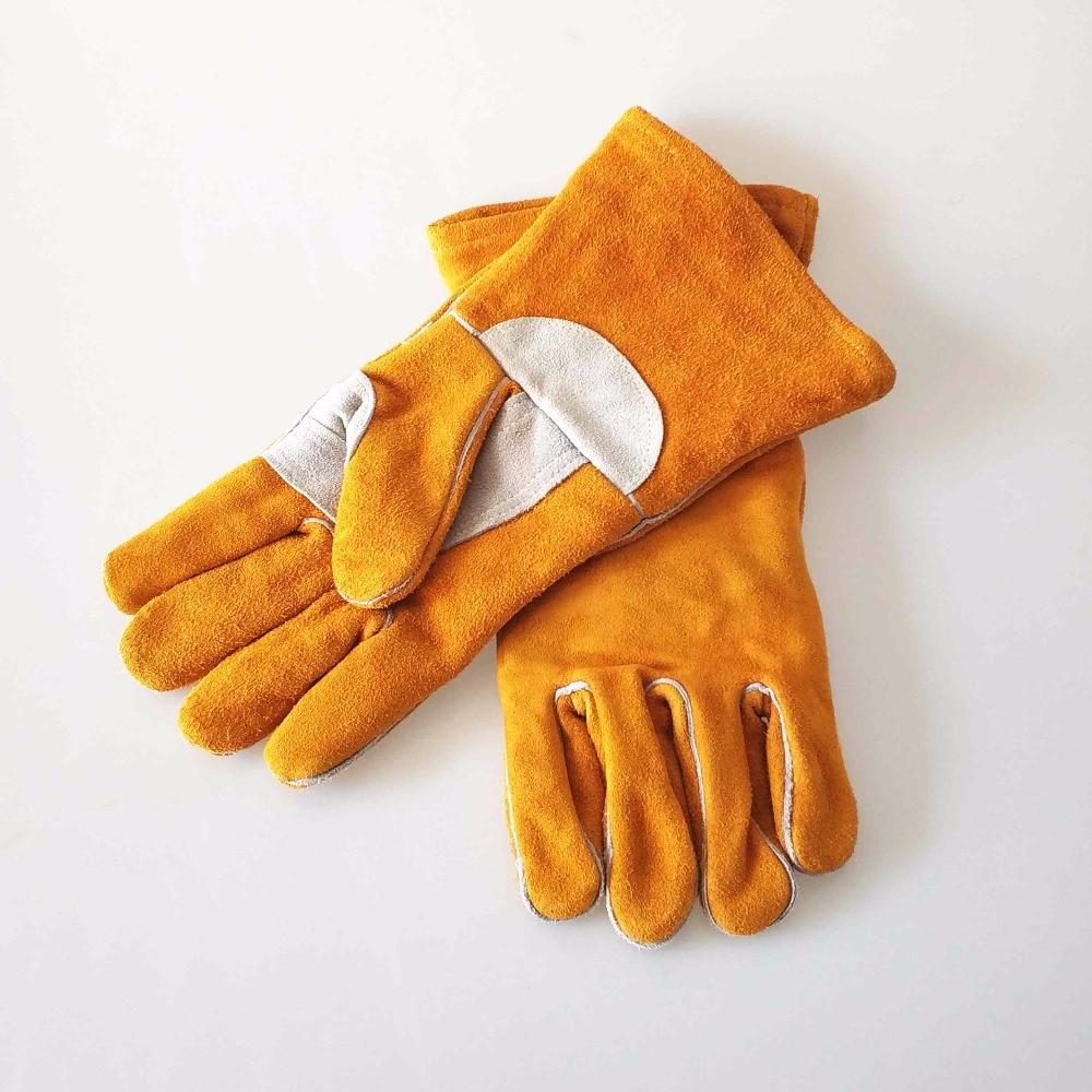 Gants de soudage 14 35 cm de Cuir De Vachette Split Soudeur Gants Renforcé Thumb Palm CE Certificat D'or MIG/Bâton Gants de soudage