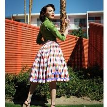 35-mujeres 50s inspirado vintage harlequin estampado midi swing jenny falda rockabilly pinup faldas retro talla grande faldas jupe en saias