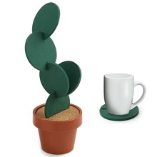 6pcs Cute Creative Coaster Mat Cactus Potted Plants Shape Cup Mat Heat Insulation Pad Table Decoration Kitchen Accessories creative office usb powered heat preservation mat cookie shape cup warmer