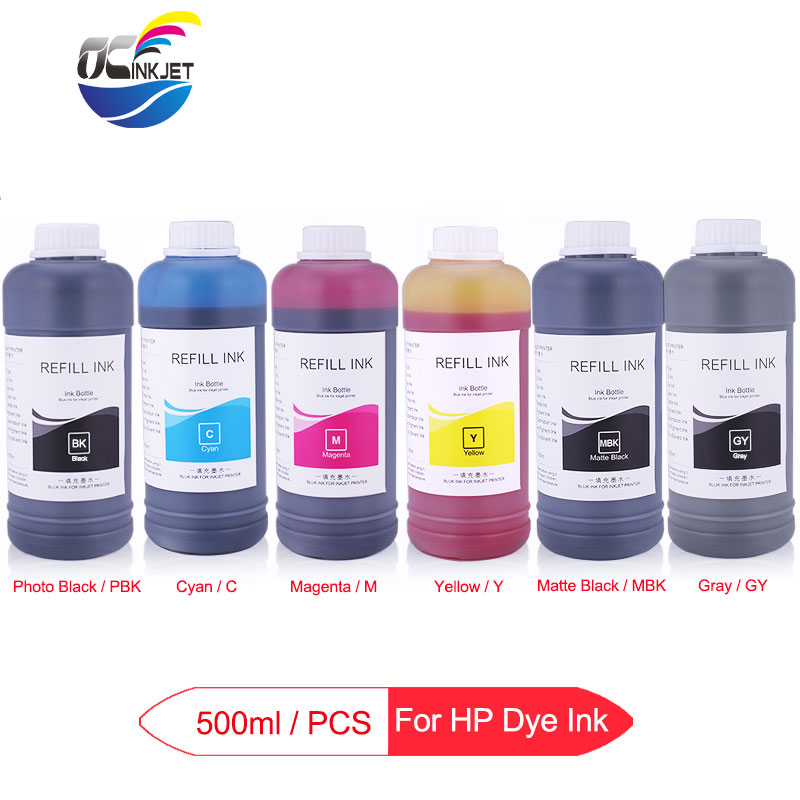 6 x 500ml <font><b>Refill</b></font> Dye Ink Bottle For <font><b>HP</b></font> Designjet T610 T620 T770 T790 T1100 T1120 T1200 T1300 T2300 Printer Ink For <font><b>HP</b></font> <font><b>72</b></font> image