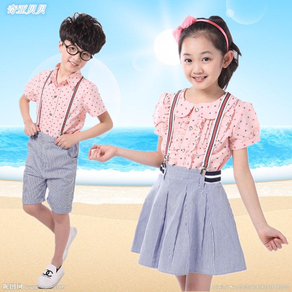 1738 5 руб  |2015 six one children kindergarten teacher wear new uniforms  summer clothing and school uniform class service купить на AliExpress