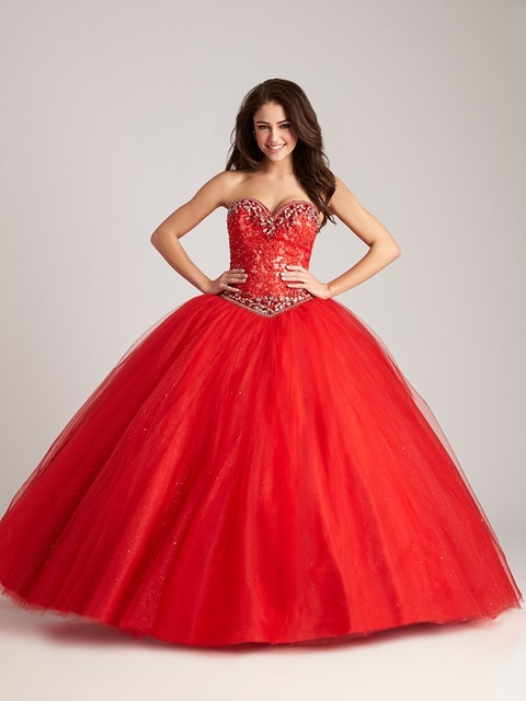 666724a5f Trajes De Quinceaneras 2017 Strapless Beaded Lace Tulle Ball Gown Vestidos  De Quince Anos Quinceanera Dresses Red