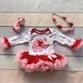 Novo dia Dos Namorados coração das meninas do bebê elefante vermelho plissado infantil tutu com acessórios combinando conjuntos de romper as crianças usam algodão