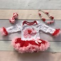 new Valentine's day baby girls heart elephant red ruffle infant romper kids wear cotton tutu with matching accessories sets