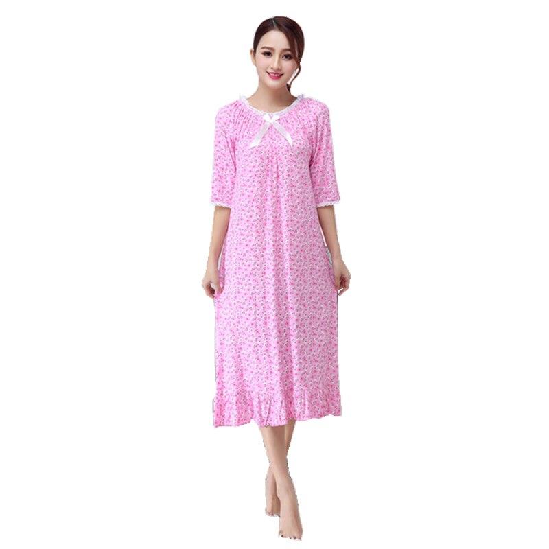 Summer Home Dressing Gown Female Casual   Nightgown   Printed Cotton Nightdress Half Sleeve Sleepwear Lady Sweet   Sleepshirt   M-XXL