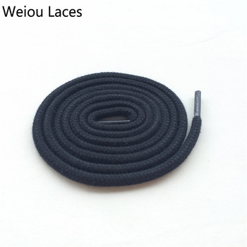Weiou Fashion Black & White Round Cotton Shoelaces 0.6cm Coloured Trainer Dress Shoe Laces For Sneakers Hiking Casual Boots