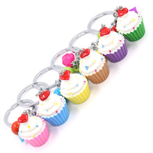 2017 New Arrivals 6 Pcs /Set Cut Vanilla Ice Cream Cup Pendant Women Keychain Mobile Shell Accessories Kids Christmas Gift