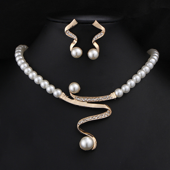 BOUNABAY Vintage Simulated Pearl Jewelry Sets For Women Wedding Bridal Crystal Necklace Earrings Gold Color African Set Gift Box дамски часовници розово злато