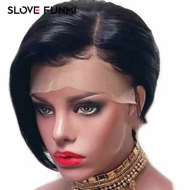 Slove Funmi Lace Front Human Hair Wigs for Black Women Pre Pluck 100% Brazilian Remy Short Bob Lace Wigs with Bleached Kntos