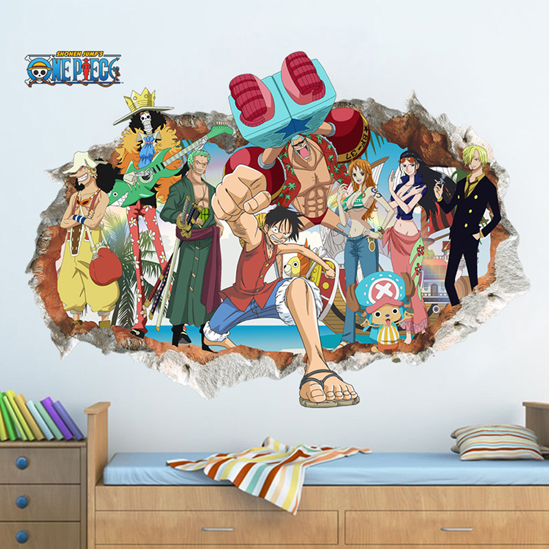 Hot Sale One Piece Monkey D. Luffy Anime Sticker The Straw Hat Pirates All Members 3D Visual Effect Wallpaper Mode Stickers ST26