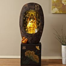 Large Resin Buddha Statue Flowing Water Decoration Fengshui Recruitment Living Room Office Points with Rockery Fountain Humidifi(China)