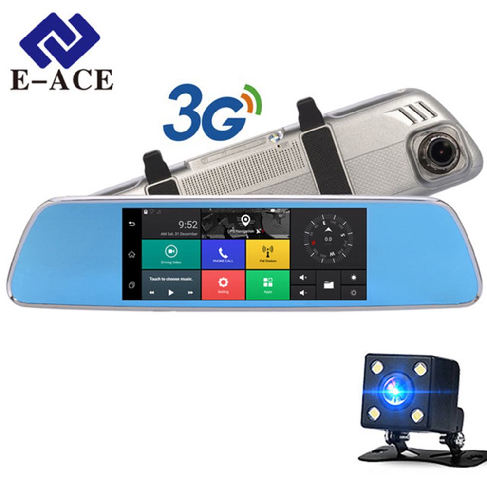 E-ACE 3G Car 7  GPS Dash cam Rearview Mirror With DVR And Camera Android 5.0 FHD 1080P Video WIFI Navigation Recorder Registrar hyt h760 7 3g rearview mirror dvr and camera dual lens android 5 0 1080p video recorder gps navigation car detector dash cam