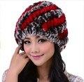 Garantía 2016 de Calidad Superior 100% Natural de Piel de Conejo de Punto Sombrero para La Moda De Invierno Gorros Feminino Caliente Gorro de Piel Hecho Punto 11 Color