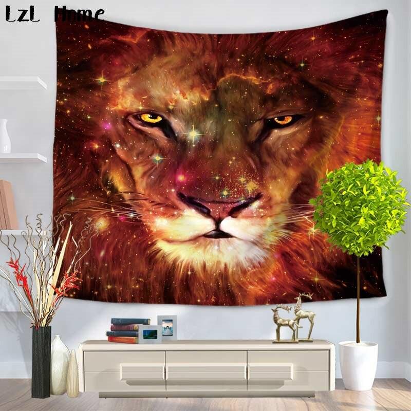 LzL Home 3d Tiger Lion Digital Printing Tapestry Home Decor Hanging Wall Decoration Yoga Mandala Blanket Drap Mural Beach Towel