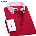 2017 New Arrival Brand Men's Fashion Slim Fit Clothes Men  Long Sleeve Solid Color Dress Shirts Formal Business Shirts For Men
