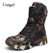 Cungel Plus größe Männer Outdoor Jagd stiefel Camouflage Wandern stiefel Wasserdicht Militär Kampf stiefel Armee Taktische stiefel Schwarz