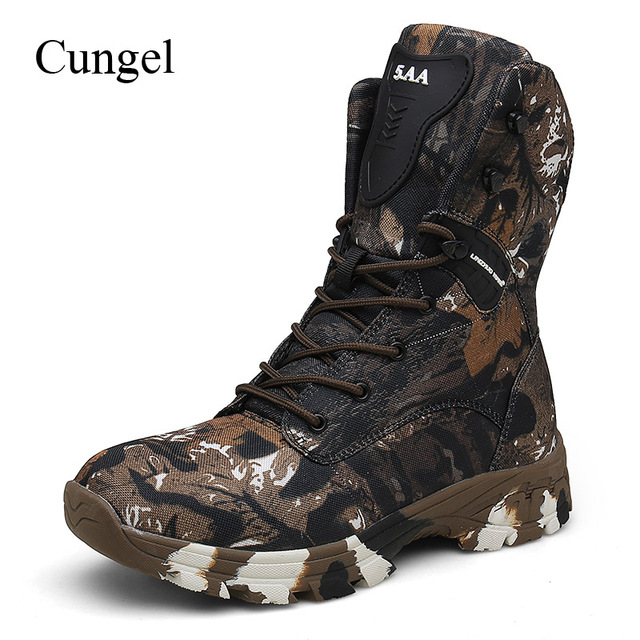 Cungel Plus size Men Outdoor Hunting boots Camouflage Hiking boots Waterproof Military Combat boots Army Tactical boots Black