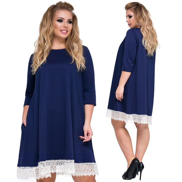 344924878a 2018 Spring New Women Plus size Dress L XXL XXXL 4XL 5XL 6XL Three Quarter  Sleeve White Lace Patchwork Solid Loose OL Dresses