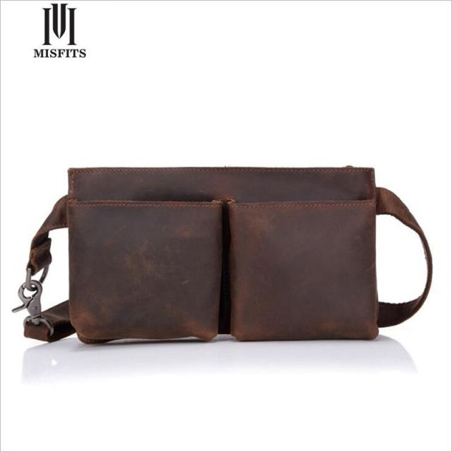 MISFITS Genuine leather Man Waist Bag Crazy Horse Leather Man Cross Body Bag Men Travel Bags Leather Men's Bag WH8097
