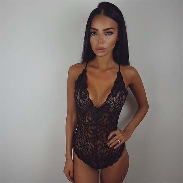 f263ae77d2 placeholder Sexy Lace Bodysuits Women Deep V Neck Halter Transparent Party  Club Jumpsuit Rompers Sheath Casual Overalls