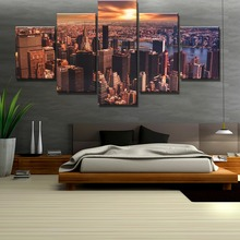 5 Piece HD Print New York City Sunset Modern Decorative Paintings on Canvas Wall Art for Home Decorations Decor Artwork
