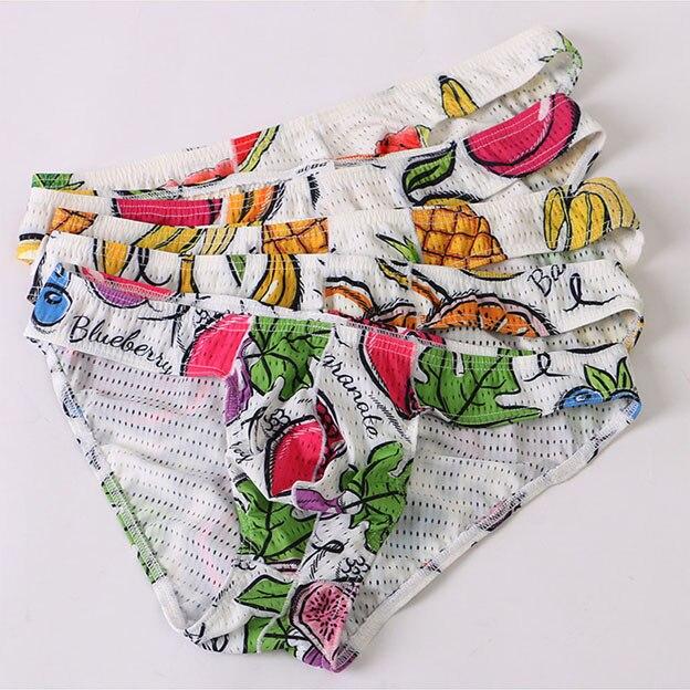 Low Waist Mens Mesh Briefs Sexy Underwear Printed Briefs Penis Pouch Mesh Underwear Mens Bikini Underwear Cueca Masculina