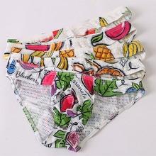 Low Waist Mens Mesh Briefs Sexy Underwear Printed Penis Pouch Bikini Cueca Masculina