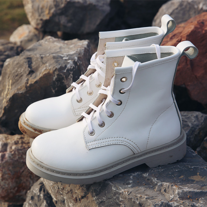50% Discount Winter Martin Boots for Women Boots Handmade Lace Up Motorcycle Boots Genuine Leather White Casual Boots