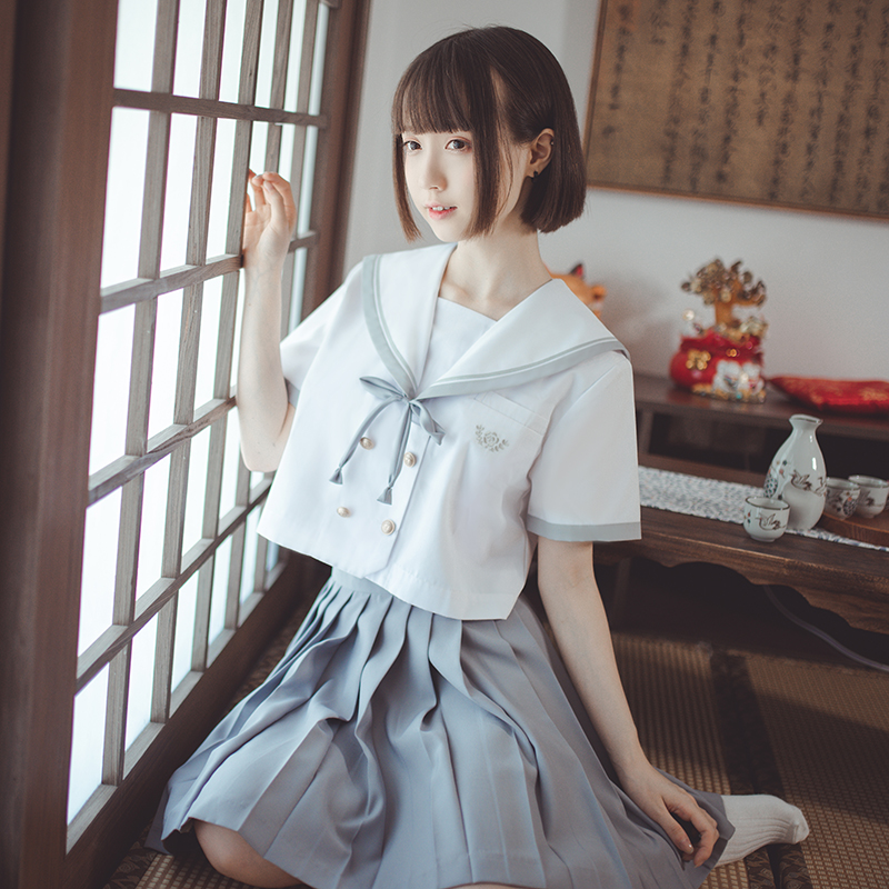 UPHYD School Uniform Patterns For Girls Long Sleeve JK Uniforms White Shirt+Pleate Skirt Anime Cosplay Costume Sailor Suits W86