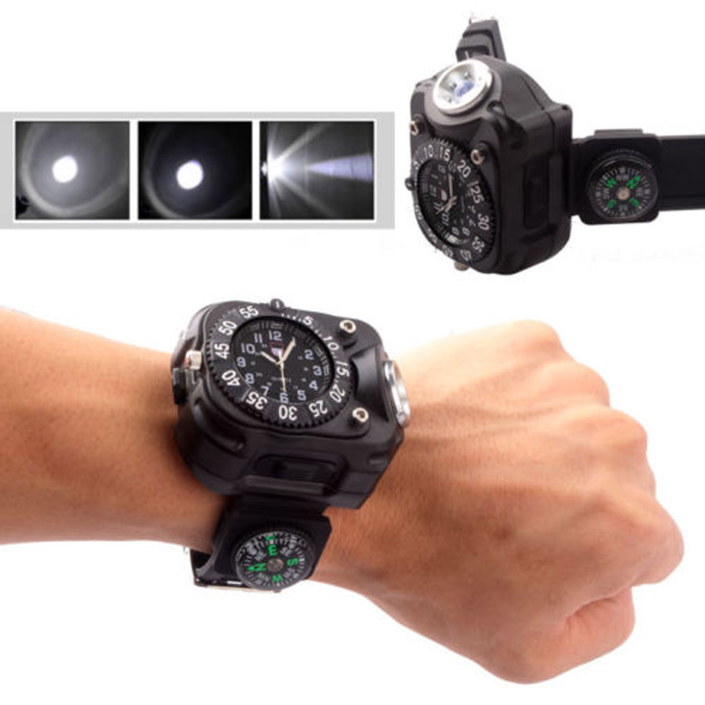 Hot High brightness Waterproof Tactical LED Dial Display Rechargeable Wrist quartz clock Watch Flashlight Light Compass 5 modes new portable led wrist watch flashlight torch light usb charging wrist model tactical rechargeable flashlight