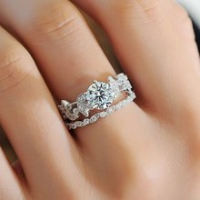 New Mode Style Leaf Pattern Moissanites Engagement Ring White Gold Color Forever Lab Grown Ring Wedding Gift(China)