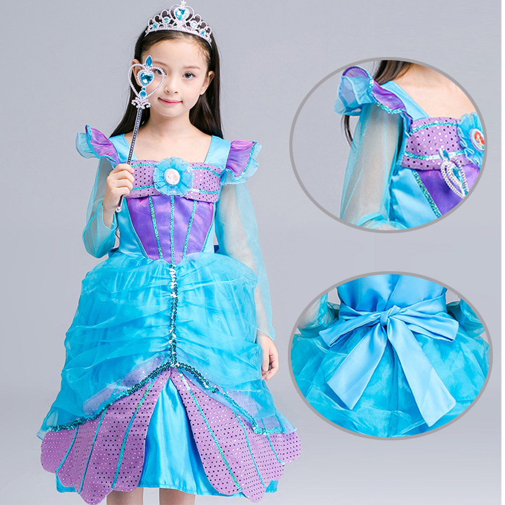 2017 new the little mermaid ariel kids girls dress princess cosplay halloween costumechina - Mermaid Halloween Costume For Kids
