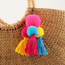 Trendy Multicolor Tassel Ball Keychain Handmade Fashion Cars Keyring Women Ldies Bag Ornaments Pendant Gift