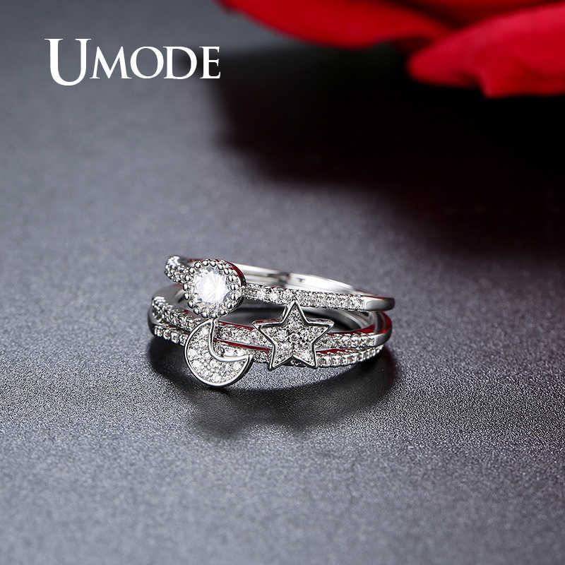 Umode star promise conjuntos de anéis de casamento para mulheres zircônia cúbica 3 peças de luxo anéis de noivado jóias afirmação ur0510