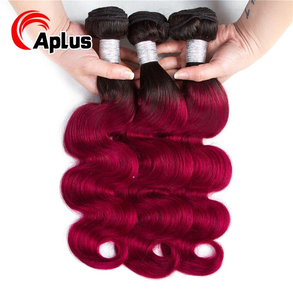 Aplus Hair Pre-Colored T1B/Burgundy 100% Human Hair Bundles Ombre Brazilian Body Wave 3 Bundles Deals Can Be Dye Non Remy