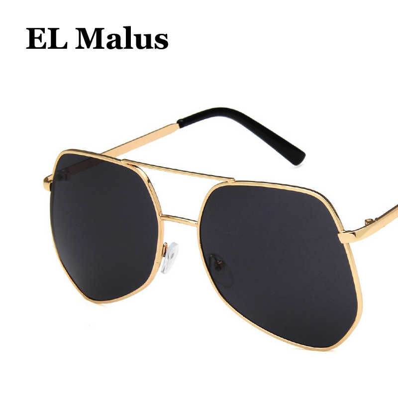 6aafdca07 ... [EL Malus]Big Metal Frame Sunglasses Men Women Gray Yellow Pink Lens  Mirror Gold ...