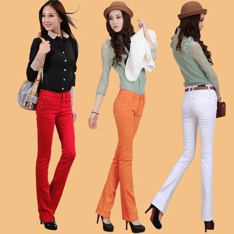 Colored bootcut jeans women | Global fashion jeans collection