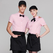 (5 get 10% off, 10 get apron)Man/woman short sleeve coffee shop restaurant hotel waiter shirt uniform work wear work clothes