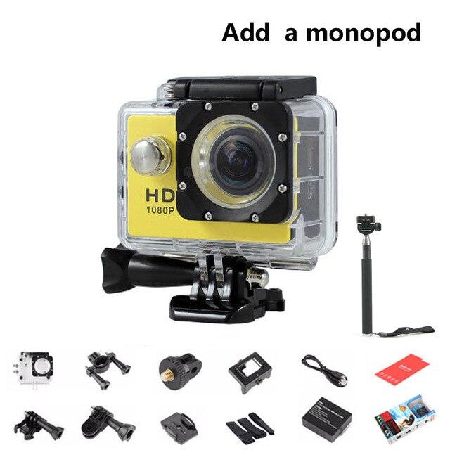 720P HD SJ 4000 1.5inch LCD Mini Camera Photo Video Recorder 30M Waterproof Sport DV Bike Helmet Cam Mini Camcorders + Monopod