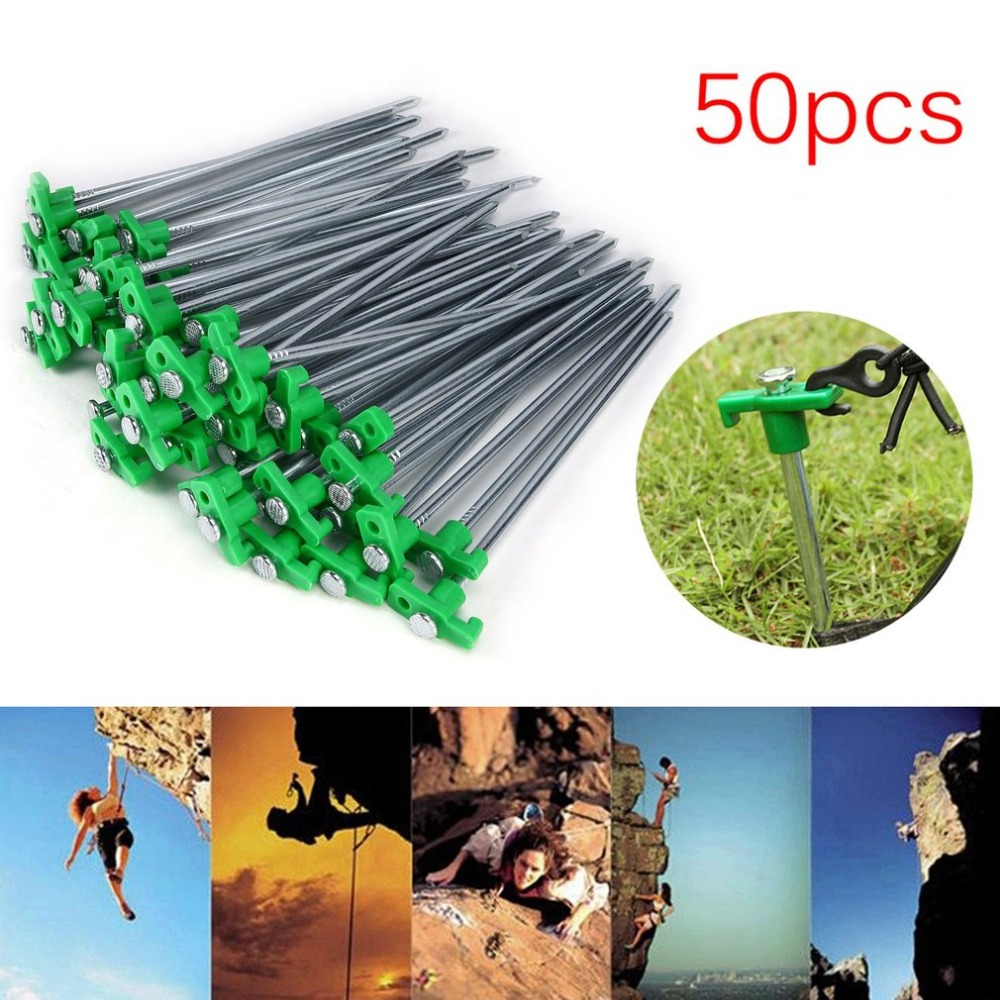 Newest 50PCS Universal T Shape Iron Pegs Stable Ground Nails Tent Pegs Garden Stakes For Outdoor Awning Camping Tarp 25cm