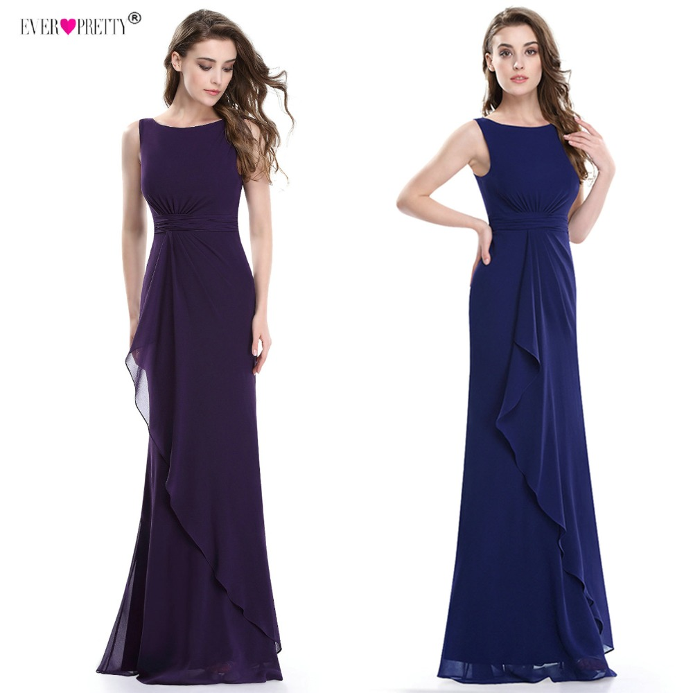Ever Pretty Women's Elegant Evening Dresses EP08796 Round Neck Ruffles Sleeveless V Back Long Formal Evening Party Dreseses