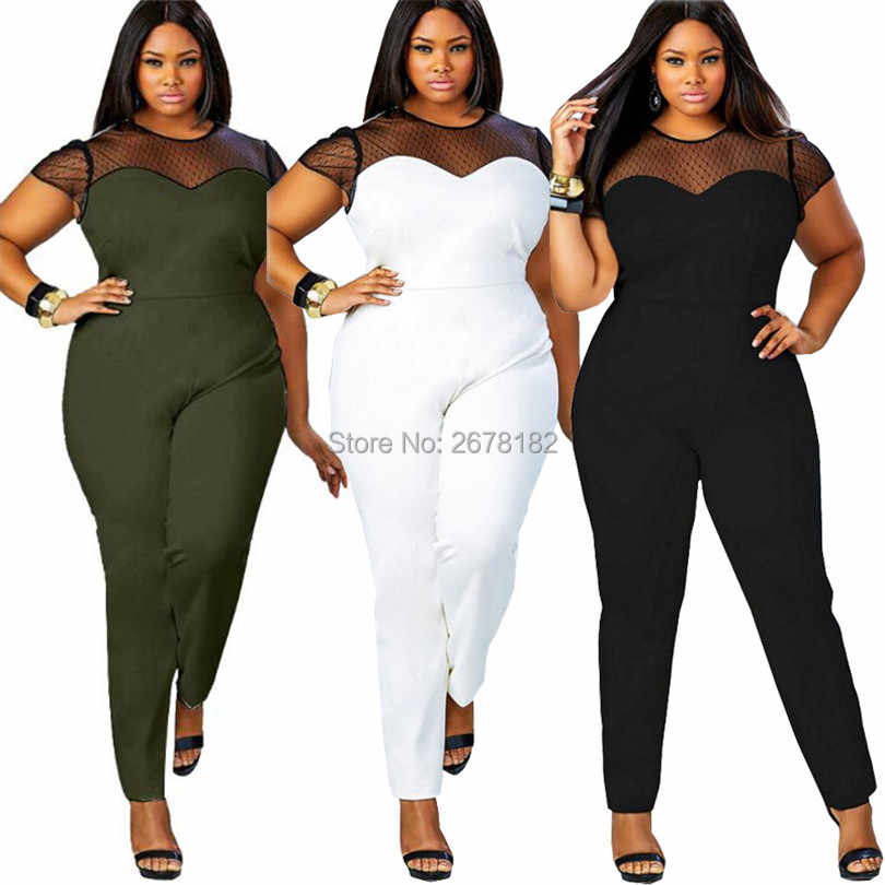 Plus size L-4XL women jumpsuit 2018 short sleeve mesh lace Patchwork rompers large size sexy club party long pant black overalls